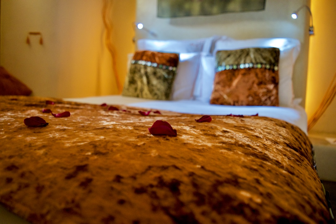 Rose petals at Marrakesh riad