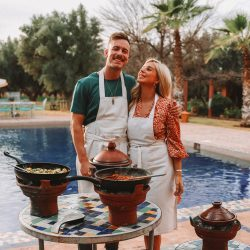 tourists cooking honeymoon tour